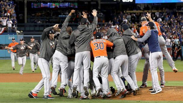PHOTO: The Houston Astros celebrate defeating the Los Angeles Dodgers 5-1 in game seven to win the 2017 World Series at Dodger Stadium, Nov. 1, 2017, in Los Angeles. (Jerritt Clark/Getty Images, FILE)