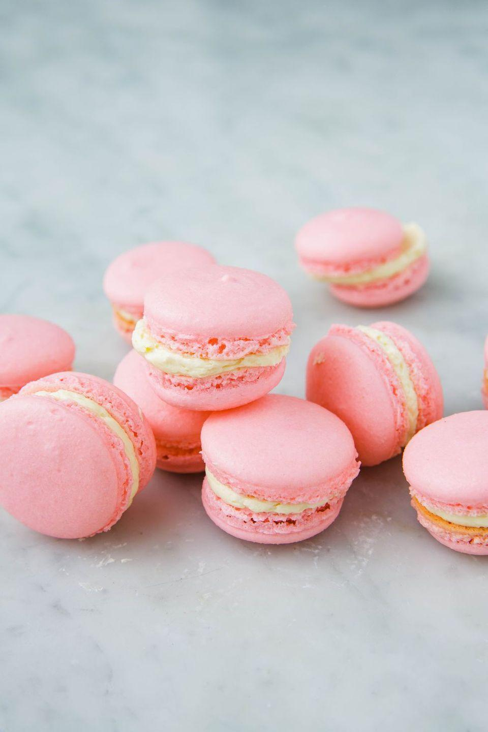 """<p>These delicate French cookies are SO classy. </p><p>Get the recipe from <a href=""""https://www.delish.com/cooking/recipe-ideas/a25324082/how-to-make-macarons/"""" rel=""""nofollow noopener"""" target=""""_blank"""" data-ylk=""""slk:Delish"""" class=""""link rapid-noclick-resp"""">Delish</a>. </p>"""