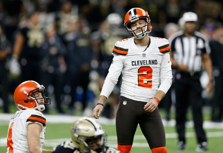Sacked Cleveland Browns kicker Zane Gonzalez reacts after missing a field goal in his team's defeat to the New Orleans Saints