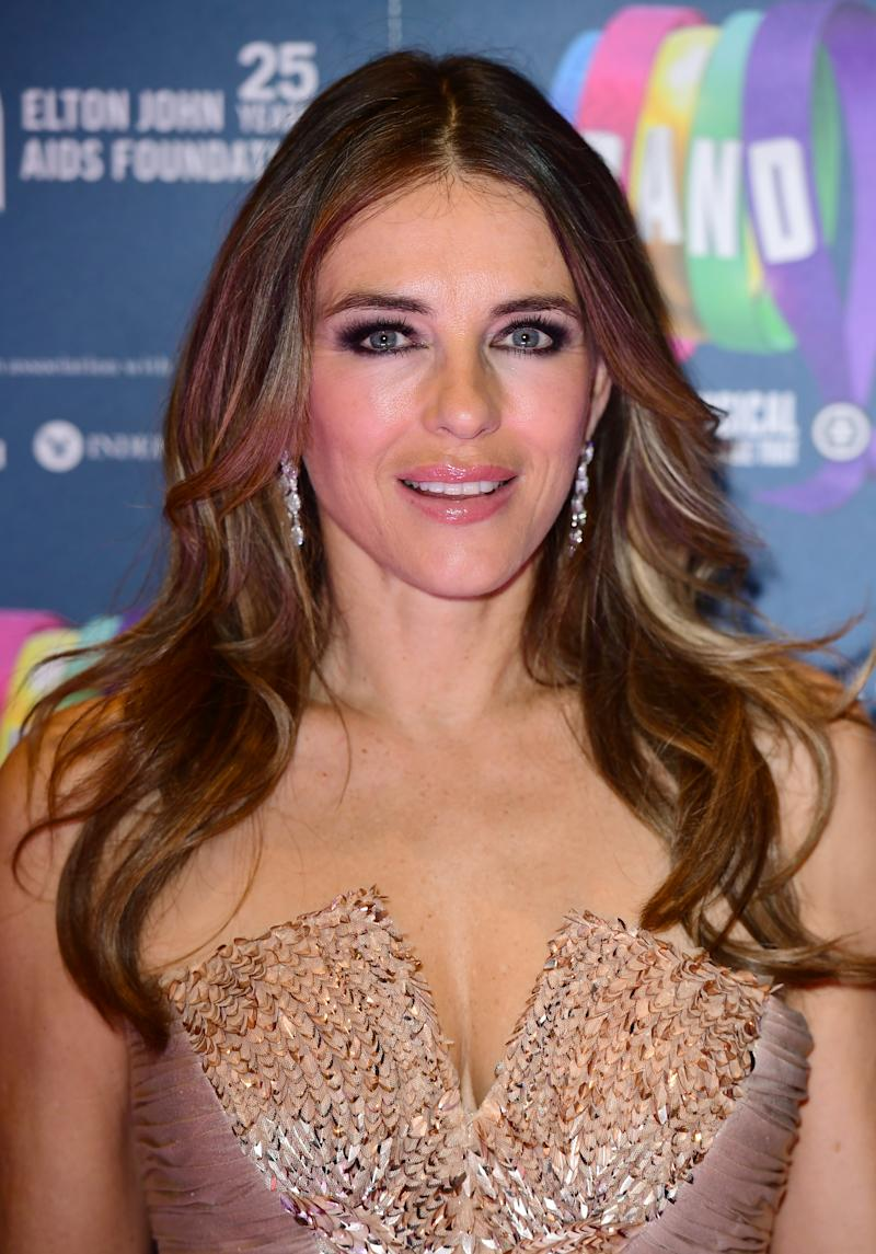 Elizabeth Hurley attending the Gala Night for Take That's The Band musical, in association with the Elton John AIDs Foundation, held at the Haymarket Theatre, London. (Photo by Ian West/PA Images via Getty Images)