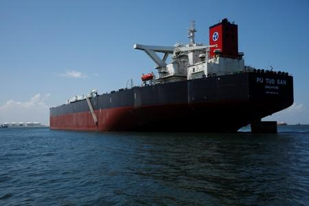 A view of Hin Leong's Pu Tuo Shan VLCC supertanker in the waters off Jurong Island in Singapore