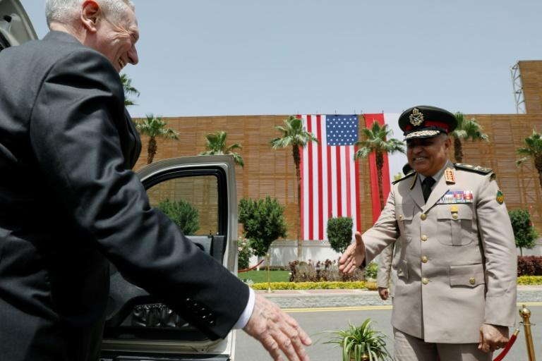 Egyptian Defence Minister Sedki Sobhy welcomes Pentagon chief James Mattis to Cairo talks on April 20, 2017