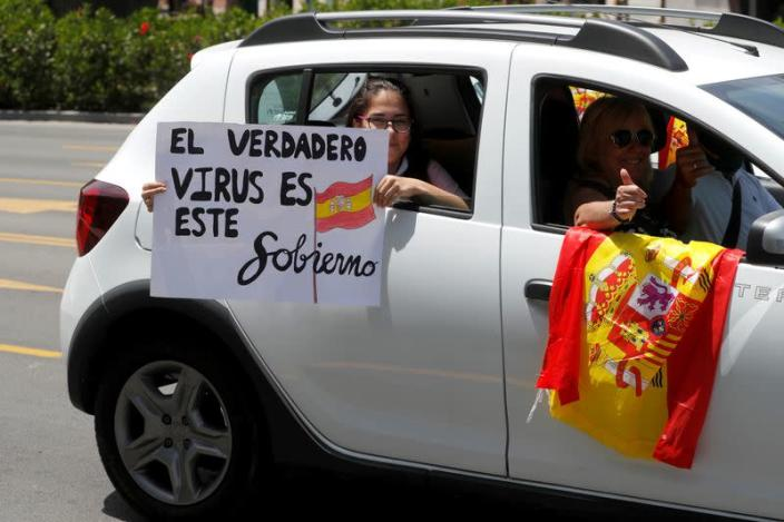 Protest against the government's handling of the coronavirus disease (COVID-19) outbreak, in Malaga