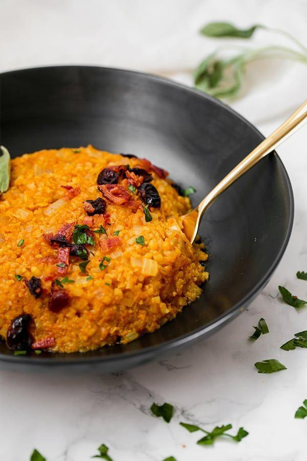 """<p>After you've indulged in plenty of pumpkin treats, you'll probably be in the mood for something on the healthier side. The answer is this yummy dish that's Whole30 and paleo approved.</p><p><strong>Get the recipe at <a href=""""https://unboundwellness.com/cauliflower-pumpkin-risotto/"""" rel=""""nofollow noopener"""" target=""""_blank"""" data-ylk=""""slk:Unbound Wellness"""" class=""""link rapid-noclick-resp"""">Unbound Wellness</a>.</strong><br></p><p><strong><strong><a class=""""link rapid-noclick-resp"""" href=""""https://www.amazon.com/Victoria-Skillet-Seasoned-Flaxseed-Certified/dp/B01726HD72/?tag=syn-yahoo-20&ascsubtag=%5Bartid%7C10050.g.619%5Bsrc%7Cyahoo-us"""" rel=""""nofollow noopener"""" target=""""_blank"""" data-ylk=""""slk:SHOP SKILLETS"""">SHOP SKILLETS</a></strong><br></strong></p>"""