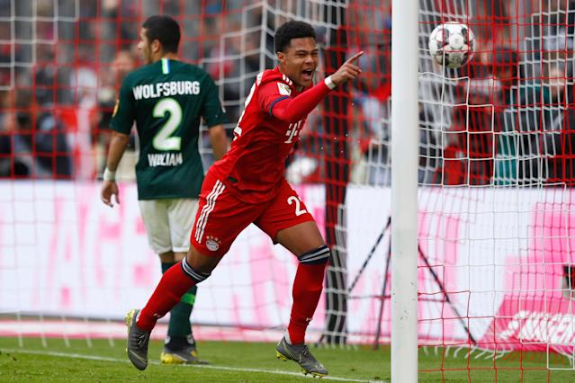 "Serge Gnabry scored Bayern Munich's opening goal and assisted the second in a 6-0 wipeout of <a class=""link rapid-noclick-resp"" href=""/soccer/teams/vfl-wolfsburg/"" data-ylk=""slk:VFL Wolfsburg"">VFL Wolfsburg</a>. (Associated Press)"