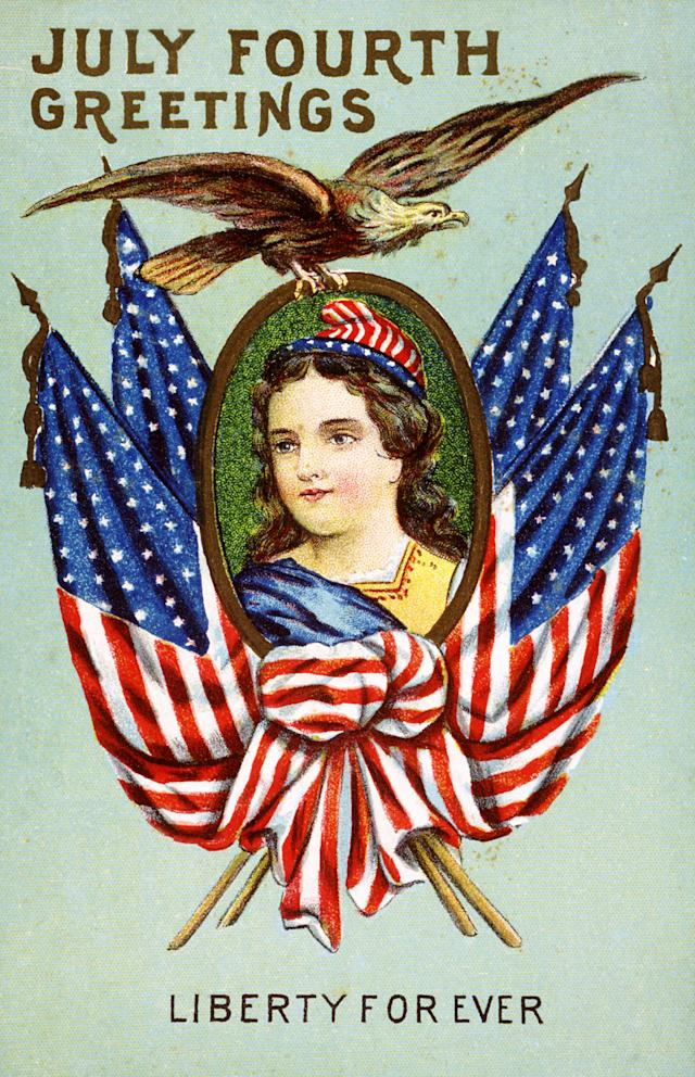"<p>""July Fourth Greetings: Liberty Forever"" vintage postcard. (Photo: K.J. Historical/CORBIS/Corbis via Getty Images) </p>"
