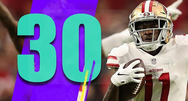 <p>Last year the 49ers lost an amazing five games in a row by three points or less. This season, three of their past five games have been losses by three points or less. It's a weird trend. (Marquise Goodwin) </p>
