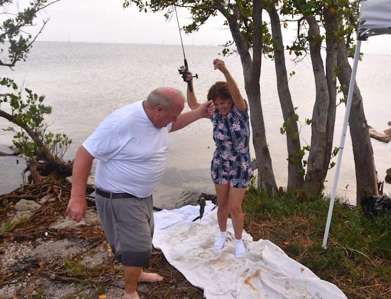 Russell and Gladia LaFontaine from Deltona set up a little canopy and fishing until launch, parked next to the Beachline. People started showing up at dawn to view the launch of the SpaceX Crew Dragon to the International Space Station.