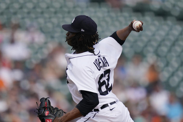 Detroit Tigers starting pitcher Jose Urena throws during the first inning of a baseball game against the Chicago White Sox, Saturday, June 12, 2021, in Detroit. (AP Photo/Carlos Osorio)