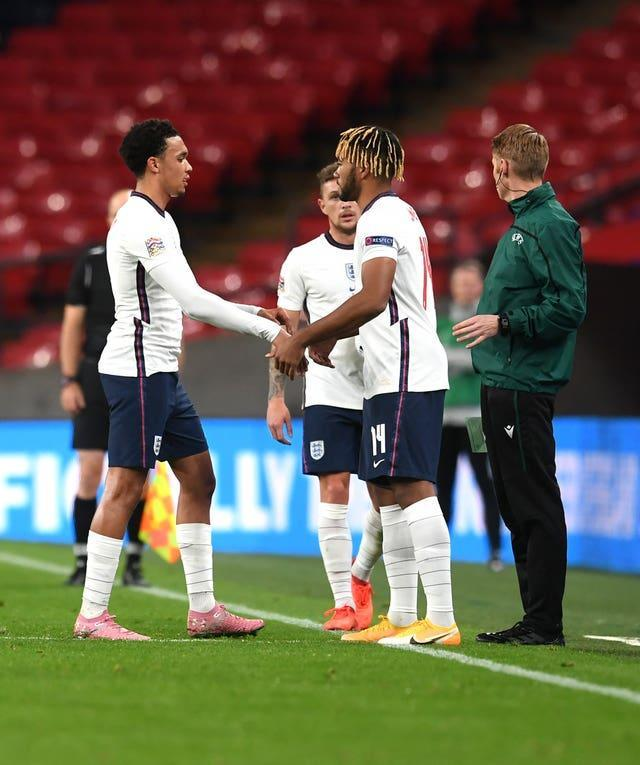 Trent Alexander-Arnold, left, Reece James, right, and Kieran Trippier, background, are among the right-backs named in the England squad