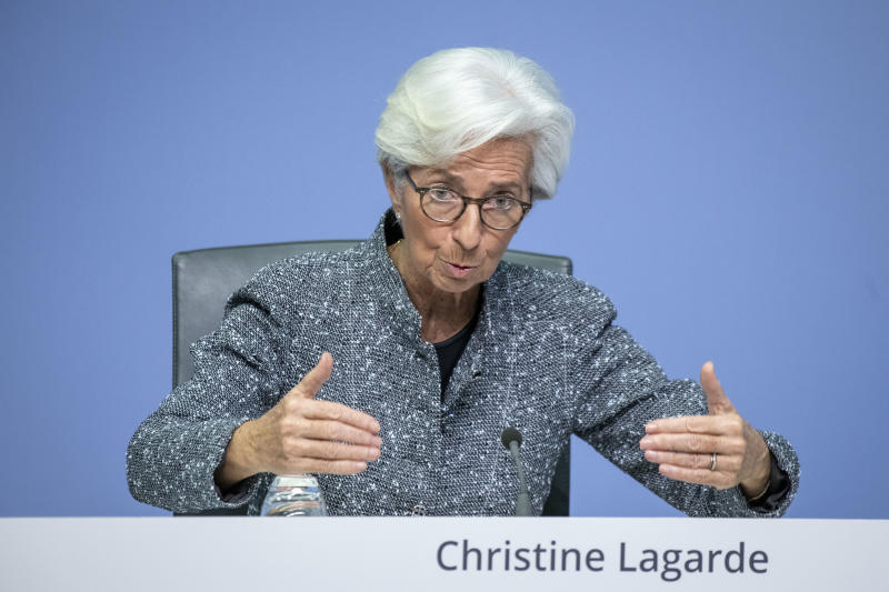 FRANKFURT AM MAIN, GERMANY - MARCH 12: Christine Lagarde, President of the European Central Bank, speaks to the media following a meeting of the ECB governing board at ECB headquarters on March 12, 2020 in Frankfurt, Germany. The ECB is pursuing measures to counter the economic impact of the rapidly spreading coronavirus. The number of confirmed cases across Europe has reached 25,000. (Photo by Thomas Lohnes/Getty Images)