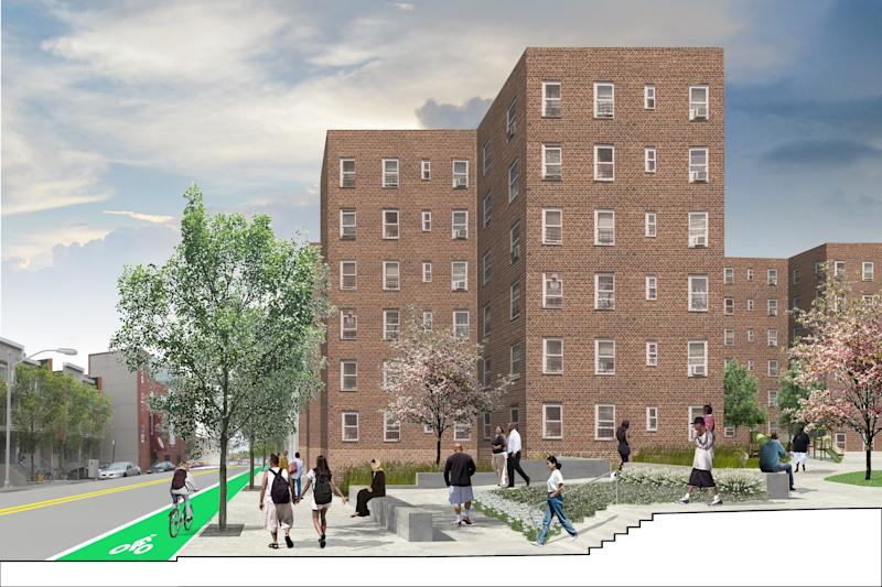 "Affordable housing gets smart. Across the country, affordable housing is as risk, from overcrowding, gentrification, extreme weather, and more. Kohn Pedersen Fox Associates and the New York City Housing Authority have one clever solution to such issues at Red Hook Houses in Brooklyn. To lessen vulnerability to natural disasters and improve livability of the 28 buildings, their plan proposes freestanding structures for above-ground boilers that glow like lanterns and 14 ""utility pods"" that further decentralize infrastructure. Raised green plots called lily pads are vibrant social spaces during normal weather, but act as flood barriers and safe havens during extreme events. Humility, empathy, and input from residents are critical to such a project's success, says Cole Roberts, associate principal at Arup Americas, the engineer for the redesign. ""Open your eyes and ears to the people of the community, who already know their strengths and weaknesses."""