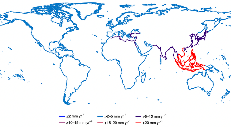 Map showing relative sea level rise in 23 coastal regions around the world.