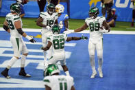 New York Jets tight end Chris Herndon (89) celebrates with teammates after making a touchdown catch against the Los Angeles Chargers during the second half of an NFL football game Sunday, Nov. 22, 2020, in Inglewood, Calif. (AP Photo/Jae C. Hong)