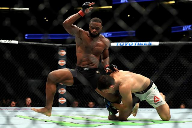 Judges had it 49-46 twice and 50-45 for Tyron Woodley in a victory over Demian Maia. (Getty Images)