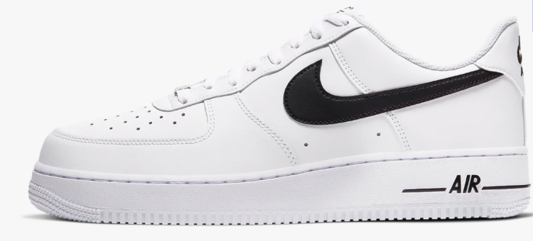 nike air force 1 shoe white with black swoosh