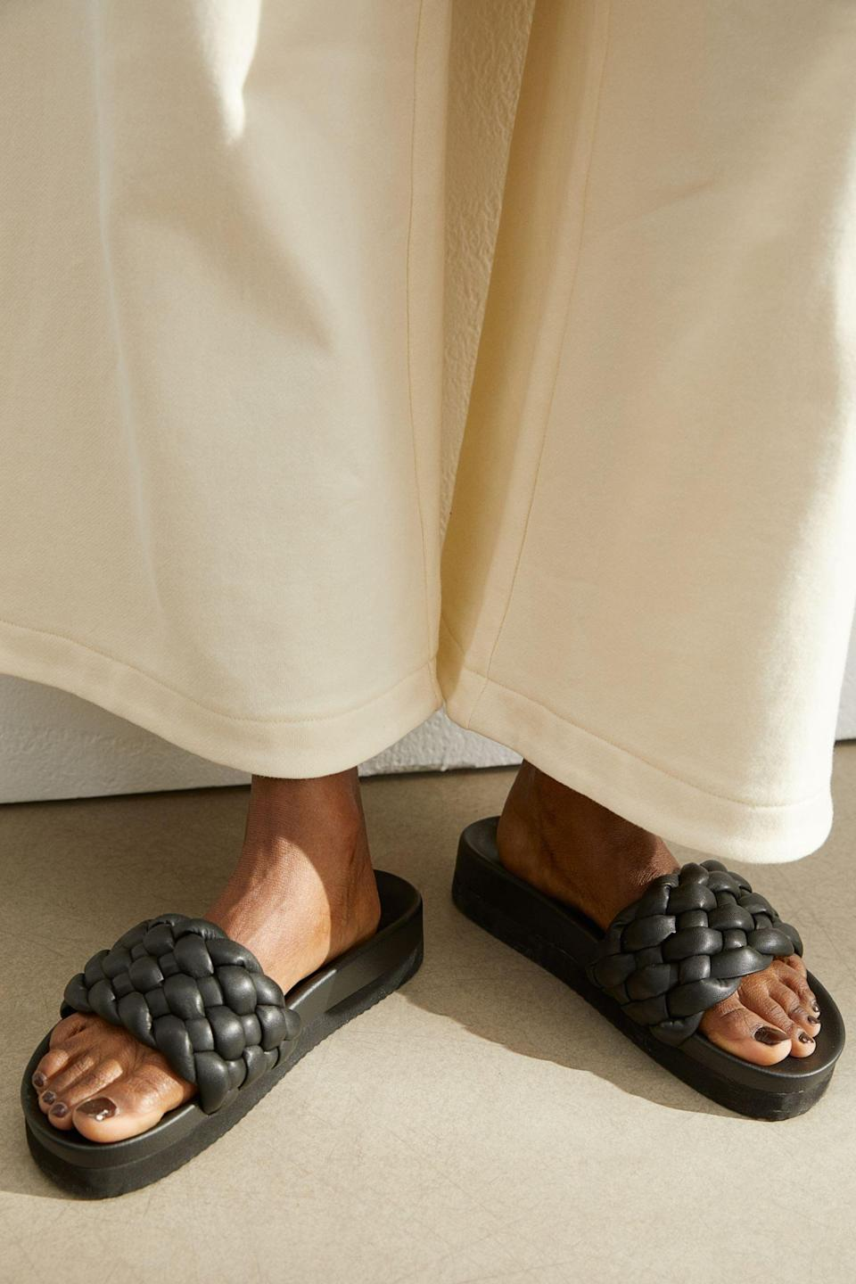 <p>You'll hit peak comfort with these <span>Braided Slides</span> ($25).</p>
