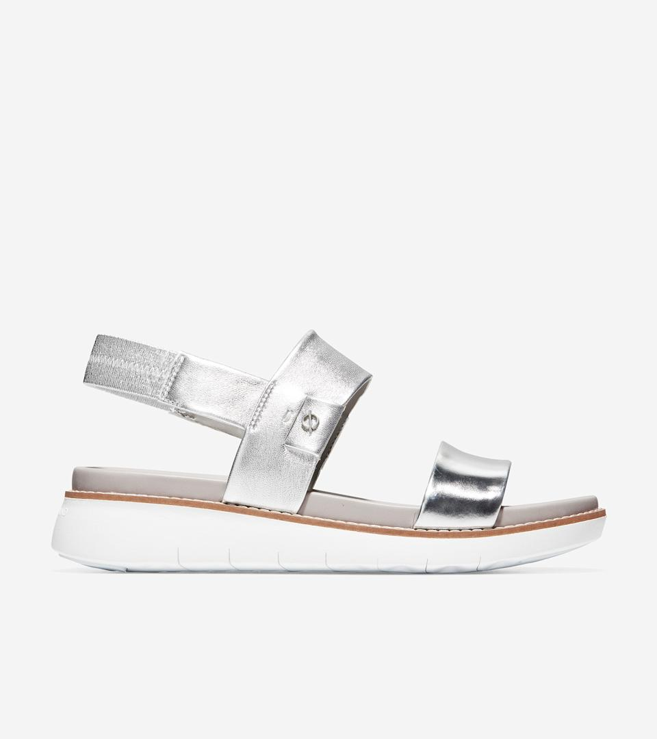 """<h2>Cole Haan</h2><br><strong>Deal: Extra 20% Off</strong><br>On top of its up to 75%-off Grand Summer Sale, the OG comfy-sandal brand is also knocking an additional <a href=""""https://www.colehaan.com/womens-sale-summerfavorites"""" rel=""""nofollow noopener"""" target=""""_blank"""" data-ylk=""""slk:20% off a selection of Summer Favorite styles"""" class=""""link rapid-noclick-resp"""">20% off a selection of Summer Favorite styles</a> — and the chic options look anything but orthopedic.<br><br><em>Shop <strong><a href=""""https://www.colehaan.com/womens-sale"""" rel=""""nofollow noopener"""" target=""""_blank"""" data-ylk=""""slk:Cole Haan"""" class=""""link rapid-noclick-resp"""">Cole Haan</a></strong></em><br><br><strong>Cole Haan</strong> ZERØGRAND Global Double Band Sandal, $, available at <a href=""""https://go.skimresources.com/?id=30283X879131&url=https%3A%2F%2Fwww.colehaan.com%2Fzerogrand-global-double-band-sandal-argento-specchio%2FW18258.html"""" rel=""""nofollow noopener"""" target=""""_blank"""" data-ylk=""""slk:Cole Haan"""" class=""""link rapid-noclick-resp"""">Cole Haan</a>"""