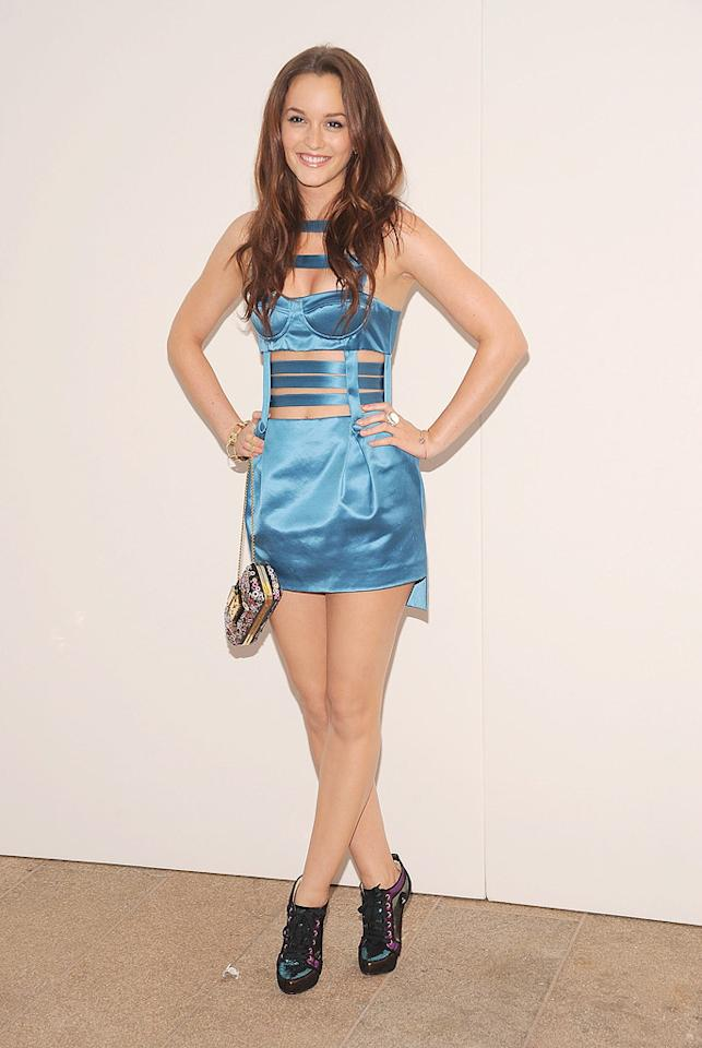 "Meanwhile in NYC at Fashion's Night Out, ""Gossip Girl"" star Leighton Meester took a risk that didn't pay off when she decided to don this vile Versus Fall 2010 blue bustier dress, complete with cut-out details. Gary Gershoff/<a href=""http://www.wireimage.com"" target=""new"">WireImage.com</a> - September 7, 2010"