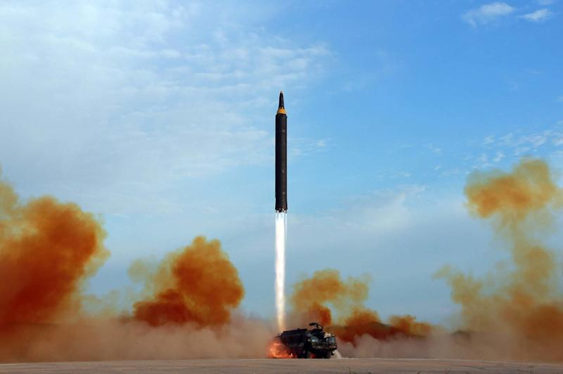 This undated file photo distributed by the North Korean government shows what was said to be the test launch of an intermediate range Hwasong-12 in North Korea. (Korean Central News Agency/Korea News Service via AP, File)
