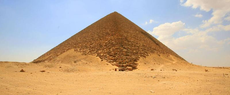 In the desert, the red pyramid of pharaoh Snofru, Dahshur complex, Egypt