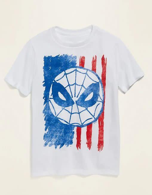 "Find this Marvel Spider-Man American flag tee for $12 at <a href=""https://yhoo.it/38a9rFM"" rel=""nofollow noopener"" target=""_blank"" data-ylk=""slk:Old Navy"" class=""link rapid-noclick-resp"">Old Navy</a>."
