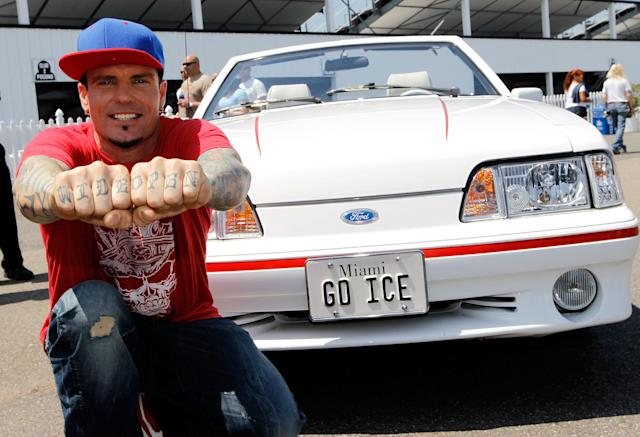 LONG POND, PA - JUNE 10: Actor Vanilla Ice poses for photos in the infield before the start of the NASCAR Sprint Cup Series Pocono 400 presented by #NASCAR at Pocono Raceway on June 10, 2012 in Long Pond, Pennsylvania. (Photo by Streeter Lecka/Getty Images for NASCAR)