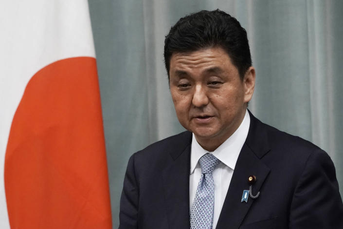 FILE - In this Sept. 17, 2020, file photo, Japan's Defense Minister Nobuo Kishi speaks during a press conference at the prime minister's official residence, in Tokyo. Japan has picked Mitsubishi Heavy Industries as a main contractor to develop the country's own next generation stealth fighter for launch in the 2030s, the defense minister said Friday, Oct. 30, 2020.(AP Photo/Eugene Hoshiko, File)