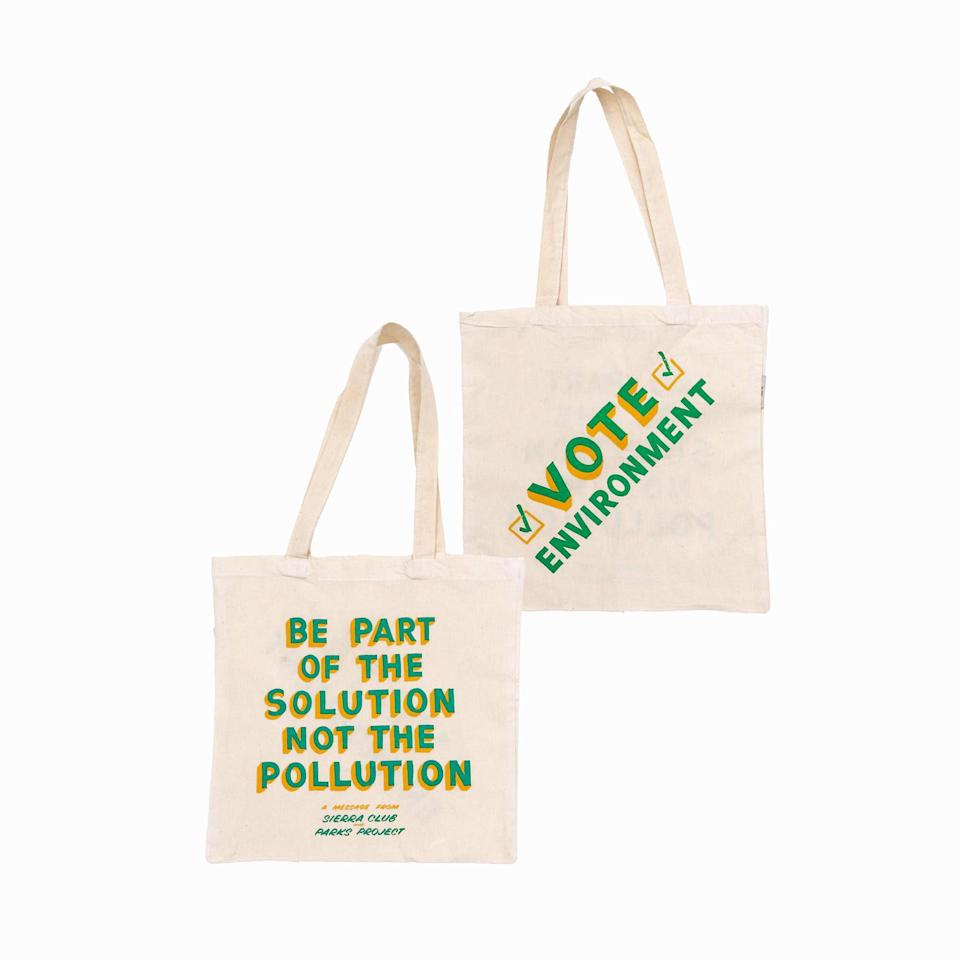 """We know, nobody needs more totes, but if you want to gift one that's actually meaningful, these from Park Project are sustainably made, and part of the proceeds are donated to fund ongoing projects in the national parks. $30, Parks Project. <a href=""""https://www.parksproject.us/products/sierra-club-x-parks-project-vote-enviornment-recycled-tote-bag"""" rel=""""nofollow noopener"""" target=""""_blank"""" data-ylk=""""slk:Get it now!"""" class=""""link rapid-noclick-resp"""">Get it now!</a>"""