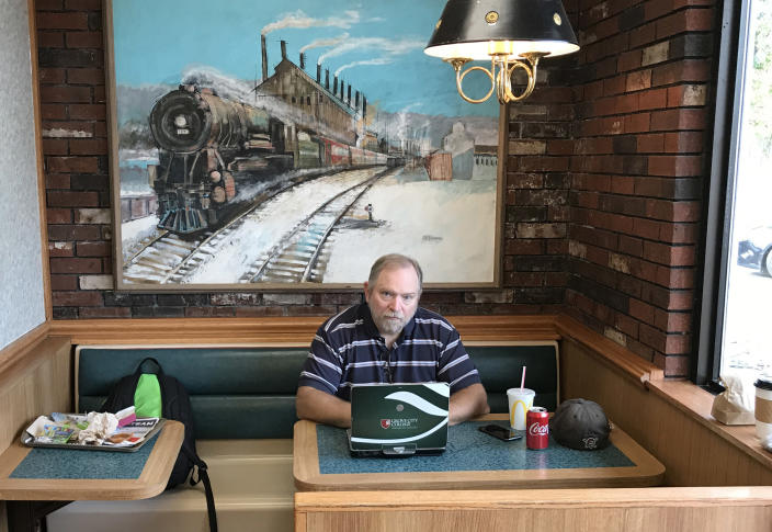 """""""This is where a lot of blog posts get written,"""" said Warren Throckmorton, who has had an outsize impact on evangelicalism through his blog posts written in the local McDonald's in Grove City, Pa. Twenty years ago, he became an influential advocate for the idea that LGBT people could change their orientation if they wanted to. Over the past decade, however, the psychology professor at a small Christian college in Western Pennsylvania has changed his mind about the effectiveness of so-called reparative therapy and is struggling with how to interpret the Bible's teachings on sexuality. (Photo: Jon Ward/Yahoo News)"""
