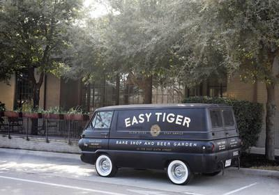 Easy Tiger's original delivery van in front of the new East location, opening in February.