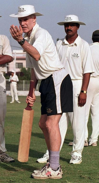 Former Australian player Trevor Chappell (L) was responsible for the infamous ball