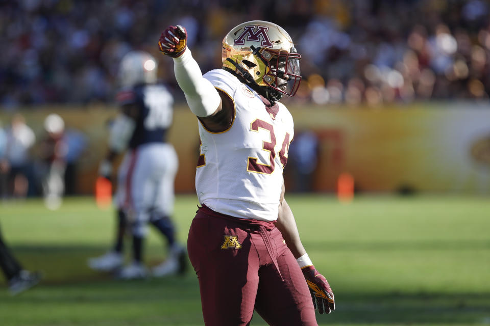 Minnesota EDGE Boye Mafe is a disruptive pass rusher with an intriguing skill set. (Photo by Mark LoMoglio/Icon Sportswire via Getty Images)