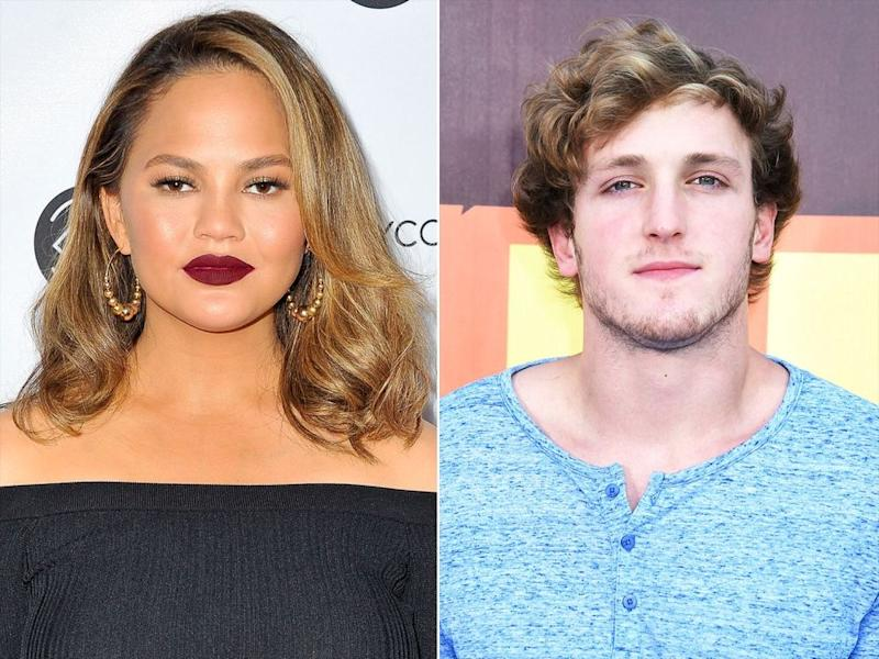 Chrissy Teigen (left) and Logan Paul