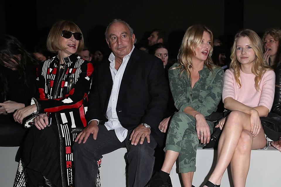 Anna Wintour, Philip Green and Kate Moss and Lottie Moss at the Topshop Unique LFW show, February 2014 on the front row  (Getty Images)