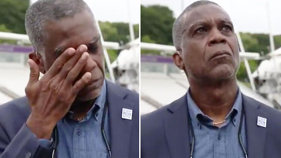 Pictured here, former Windies captain Michael Holding is brought to tears on air.