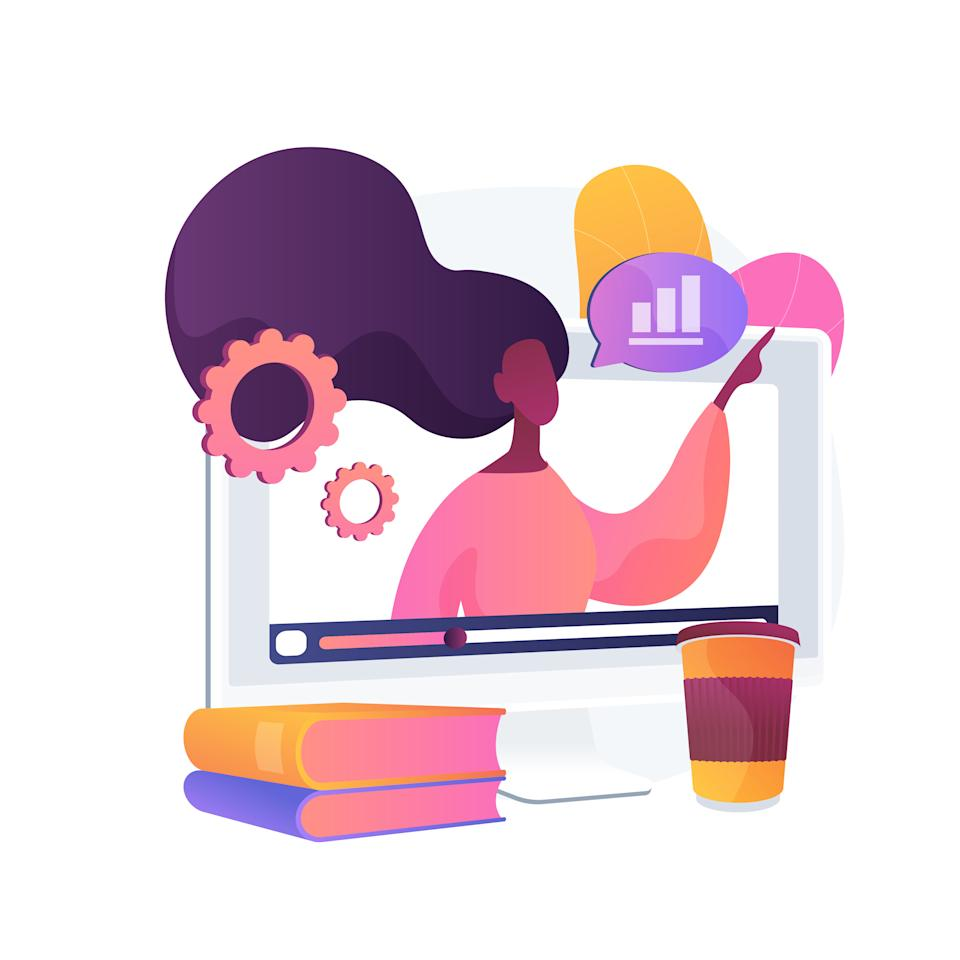 Online workshop abstract concept vector illustration. E-learning workshop, collaborative activity, get certificate online, free online education in self-isolation, master class abstract metaphor.