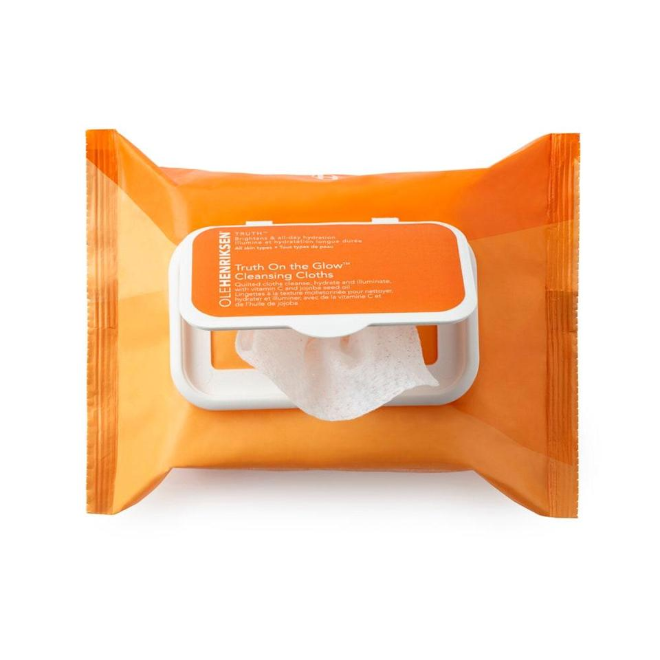 "<p>These Creamsicle-scented cloths by Ole Henriksen make us actually look forward to removing our makeup: The Clean Truth Cleansing Cloths are large (none of that tiny, need-two-per-eye nonsense), cushiony, and wet enough to remove a whole face full of makeup.</p> <p><strong>$26 for 30 wipes</strong> (<a href=""https://click.linksynergy.com/deeplink?id=MZ9491VLjxM&mid=38834&u1=allurebestmakeupremovers&murl=https%3A%2F%2Fwww.olehenriksen.com%2Fshop-by-type%2Fcleanser-and-scrubs%2Ftruth-on-the-glow-cleansing-cloths%2FOH50040.html"" rel=""nofollow noopener"" target=""_blank"" data-ylk=""slk:Shop Now"" class=""link rapid-noclick-resp"">Shop Now</a>)</p>"