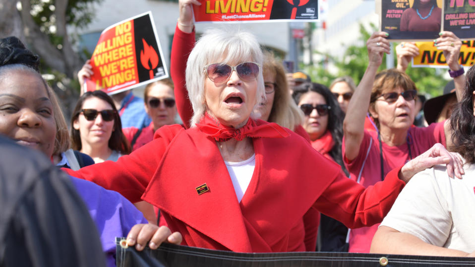 Jane Fonda marches at Greenpeace USA Brings Fire Drill Fridays To California on March 06, 2020. (Photo by Rodin Eckenroth/Getty Images)