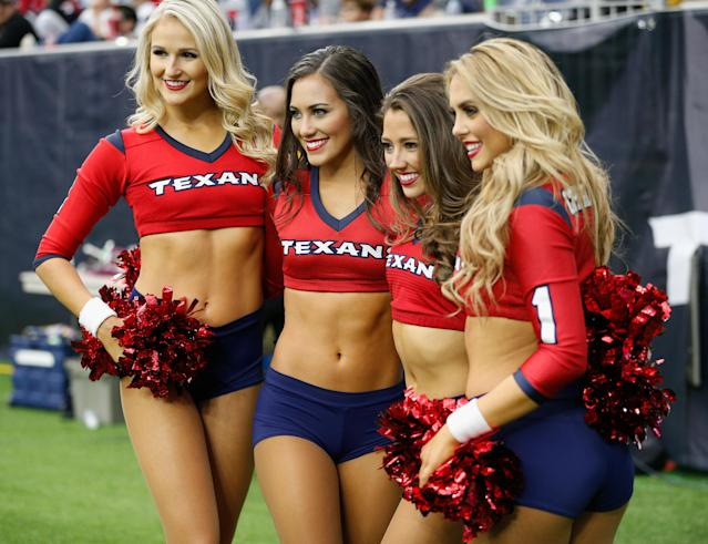 <p>Houston Texans cheerleaders perform during the game against the San Francisco 49ers at NRG Stadium on December 10, 2017 in Houston, Texas. (Photo by Bob Levey/Getty Images) </p>