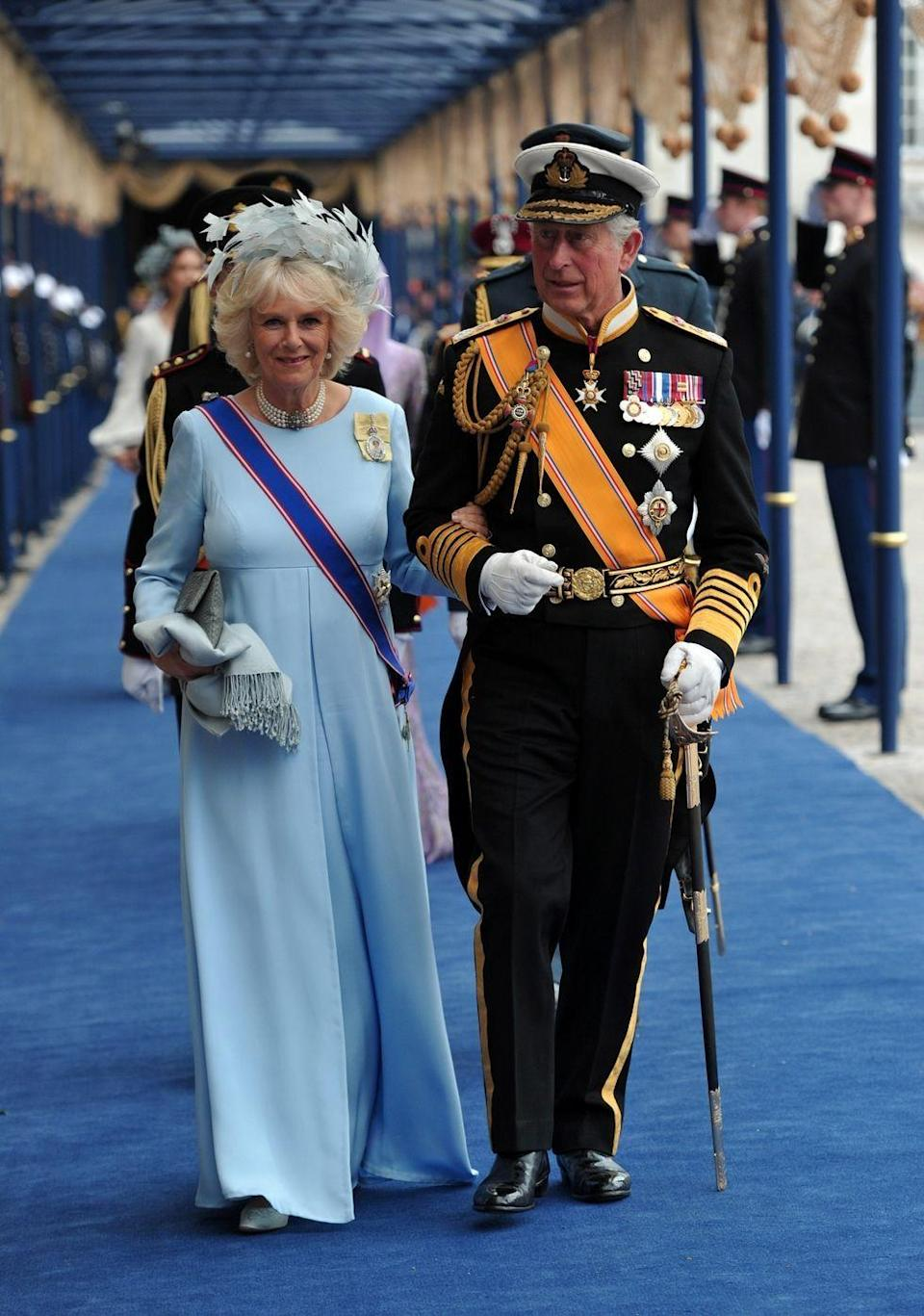 <p>The inauguration of King Willem Alexander of the Netherlands was naturally a very special occasion, with called for an appropriately regal outfit for Camilla in pale robin's egg blue with a feathered fascinator and sash.</p>