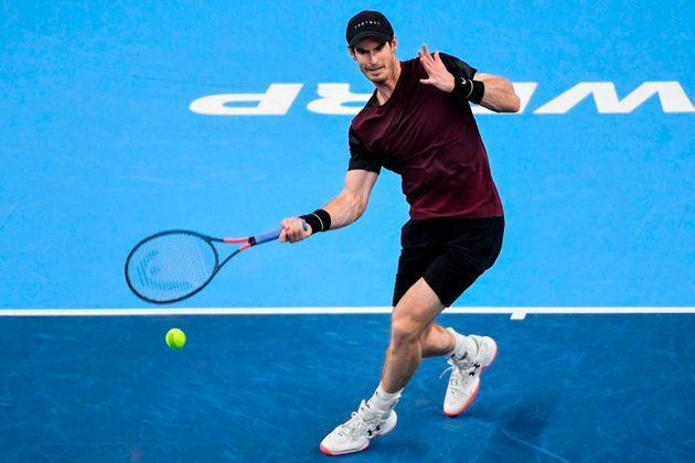 Britain's Andy Murray hits a forehand return to Switzerland's Stanislas Wawrinka during their men's single tennis final match of the European Open ATP Antwerp, on October 20, 2019 in Antwerp. (Photo by JOHN THYS / BELGA / AFP) / Belgium OUT (Photo by JOHN THYS/BELGA/AFP via Getty Images)