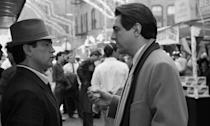 <p>New to the franchise, Joe Mantegna is seen filming a scene on a sidewalk in Little Italy in New York City.</p>