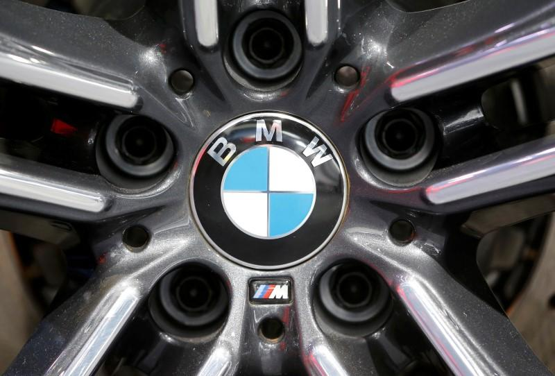 A BMW logo is seen at the North American International Auto Show in Detroit