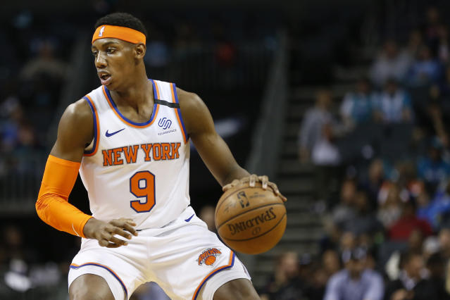 Knicks guard RJ Barrett is starting to show signs of being a player. (AP Photo/Nell Redmond)