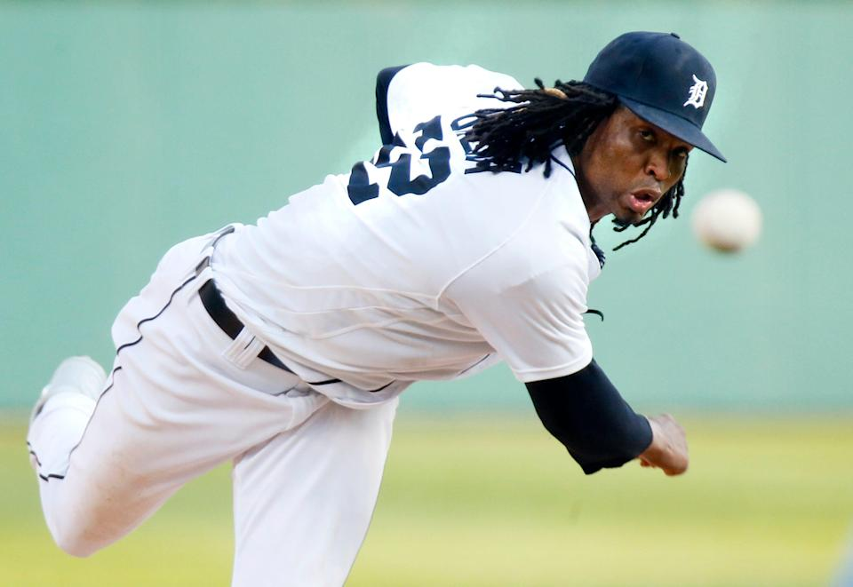 Jose Urena of the Detroit Tigers pitches against the Toronto Blue Jays during the third inning at Comerica Park on Aug. 28, 2021 in Detroit.