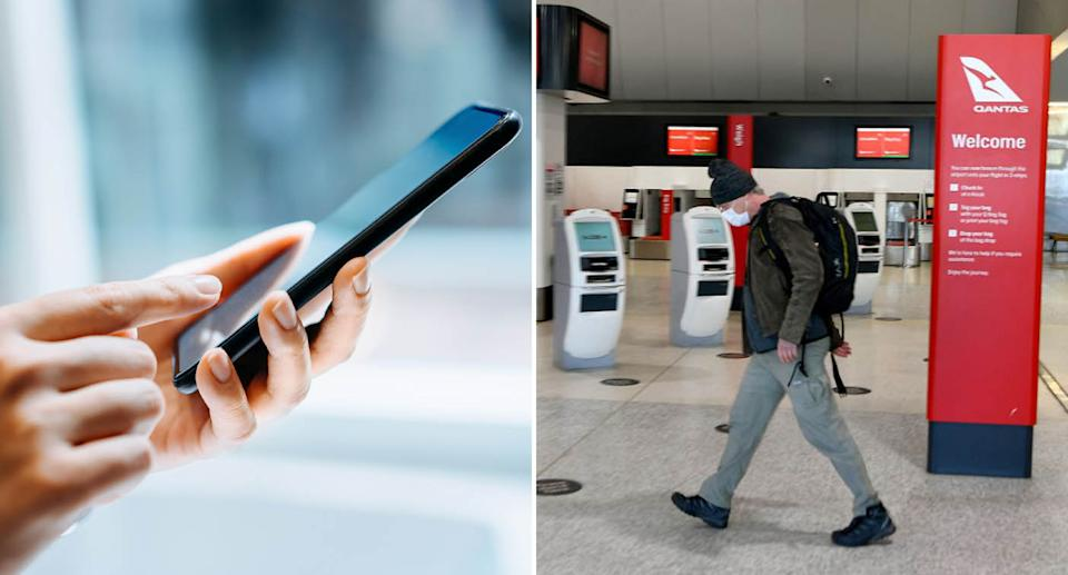 A woman holds a smartphone. Also pictured is a man walking through Melbourne Airport.
