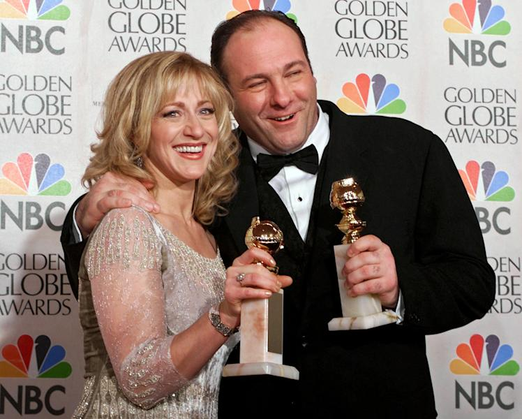 "FILE - This Jan. 23, 2000 file photo shows actors Edie Falco, left, and James Gandolfini with their awards for best performance by an actress and actor in a dramatic televison series for ""The Sopranos,"" during the 57th Golden Globe Awards in Beverly Hills, Calif. HBO and the managers for Gandolfini say the actor died Wednesday, June 19, 2013, in Italy. He was 51. (AP Photo/Kevork Djansezian, file)"