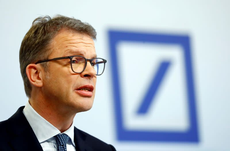 FILE PHOTO: FILE PHOTO: Christian Sewing, CEO of Deutsche Bank AG, addresses the media during the bank's annual news conference in Frankfurt