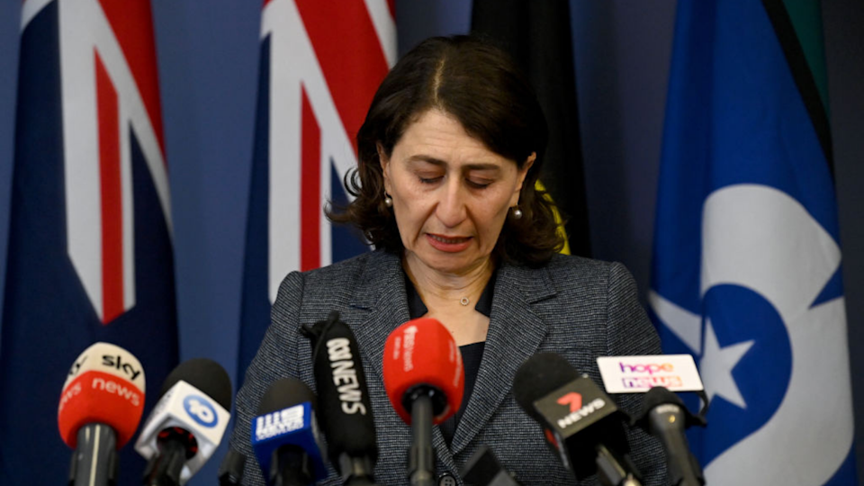 Gladys Berejiklian speaks at press conference announcing her resignation as NSW premier.